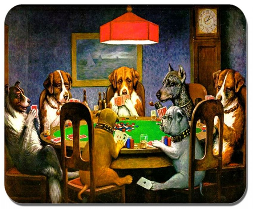 Dogs Playing Poker High Quality Cork Place Mat. Classic Vintage Art Print  Cork Backed Table Mat